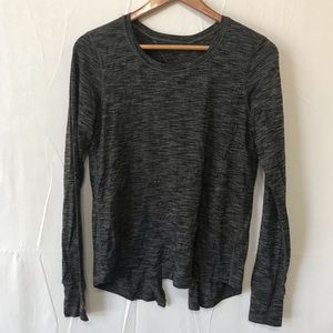 Lululemon Gray Split Open Back Long Sleeve Top